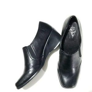 Life Stride black semi-wedged slide on loafers
